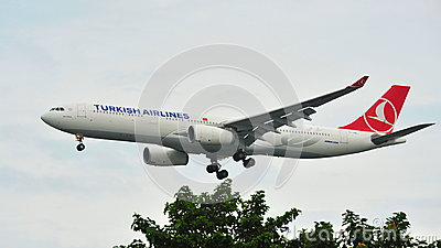 Turkish Airlines Airbus A330 landing at Changi Airport Editorial Photo