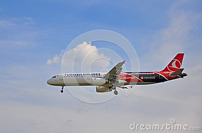 Turkish Airlines landing Editorial Stock Image