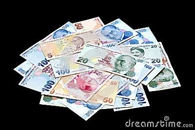 Turkish banknote pile