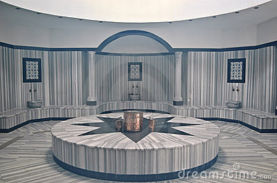 Turkish bath (Hamam) with steam at hotel s spa