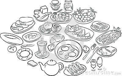 Turkish breakfast Vector Illustration