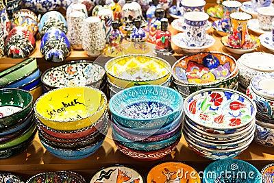 Classical turkish ceramics on the bazaar istanbul stock photo - Turkish Ceramics Stock Images Image 37501364