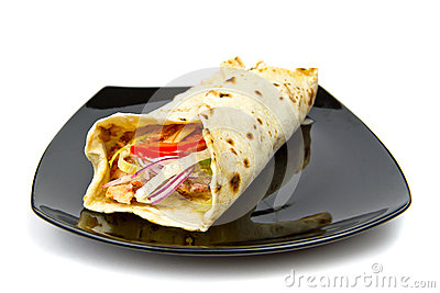 Turkish chicken doner kebab on plate