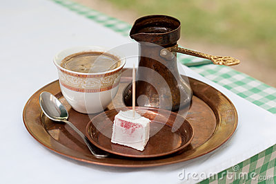 Turkish coffee served
