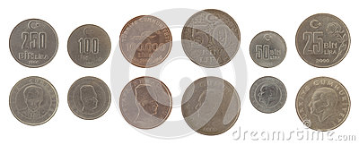Turkish Coins Isolated on White