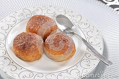 Turkish dessert with plate