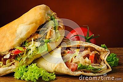 Turkish doner kebab and shawarma