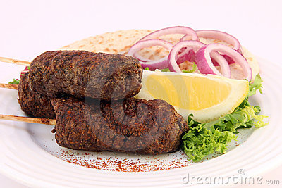 Turkish donner kofte kebab with salad