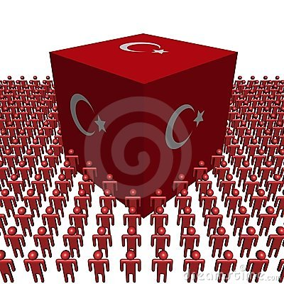 Turkish flag cube with people