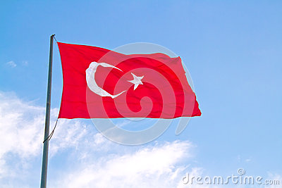 Turkish Flag Flapping In The Wind