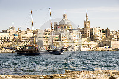 Turkish Gulet yacht, Valetta Malta. Editorial Stock Image