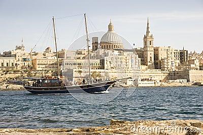 Turkish Gulet yacht, Valetta Malta. Editorial Stock Image
