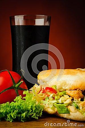 Turkish kebab and cola