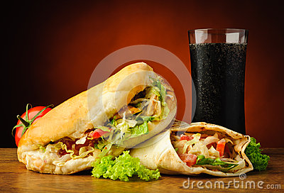 Turkish kebab, shawarma and cola drink