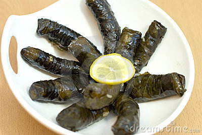 Turkish meal, stuffed grape leaves, rice and spice