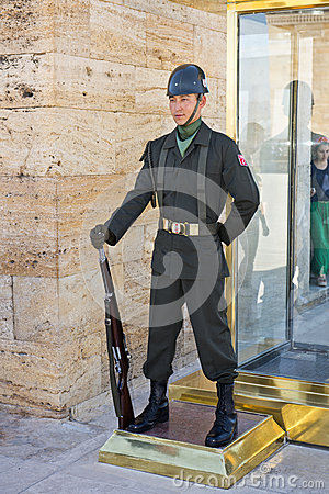 Turkish Military Soldier Standing Guard Editorial Image