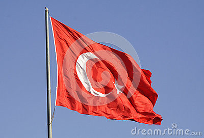 Turkish national flag against sky