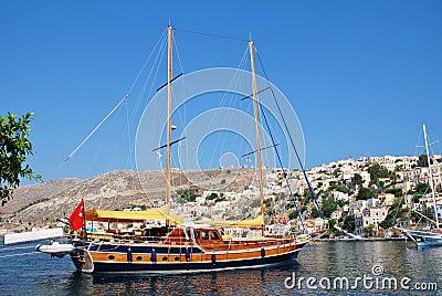Turkish sailing boat, Symi Editorial Stock Photo