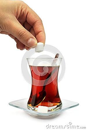 Turkish tea with traditional tea glass.