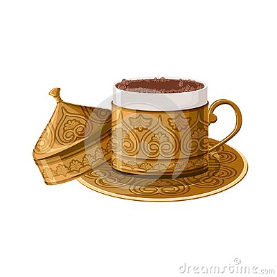Free Turkish Traditional Decorated Copper Coffee Cup Isolated On White Background. Stock Photography - 102299732