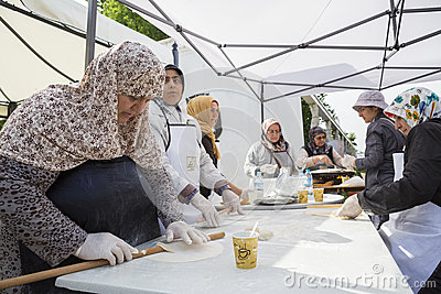 Turkish women preparing pies Editorial Stock Image