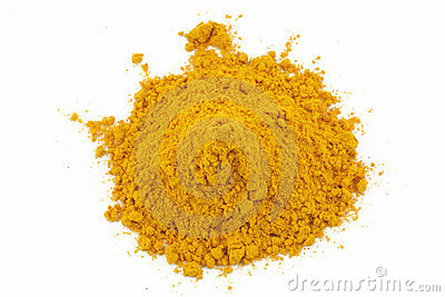 Turmeric powder grind on white