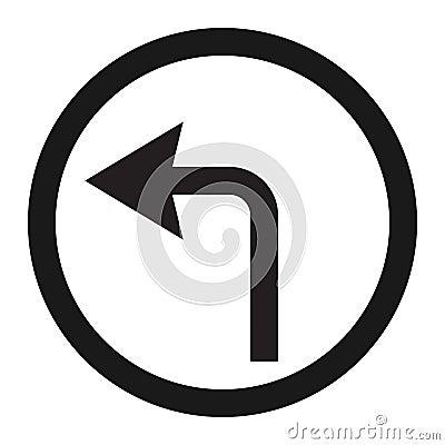 Free Turn Left Arrow Sign Line Icon Royalty Free Stock Photos - 91358618
