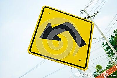 Turn left traffic sign symbol