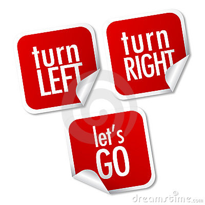 Turn left, Turn right and Let's go stickers