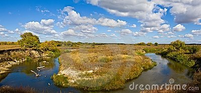 Turn of a steppe river