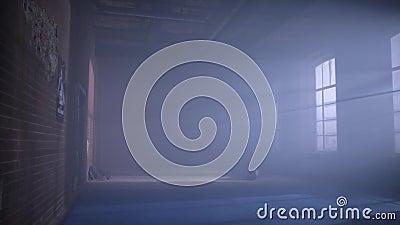 Turnhalle im Keller Innenraum einer Verpackenhalle in der Dachbodenart Leerer ringend Raum Schmutzturnhalle Innenraum mit Ausrüst