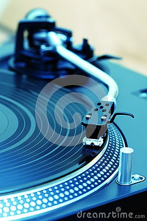 Turntable playing vinyl record
