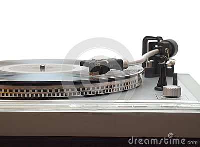 Turntable with vinyl record isolated