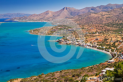 Turquise water of Mirabello bay on Crete