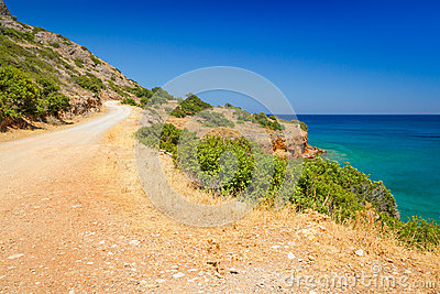 Turquise water of Mirabello bay on Crete