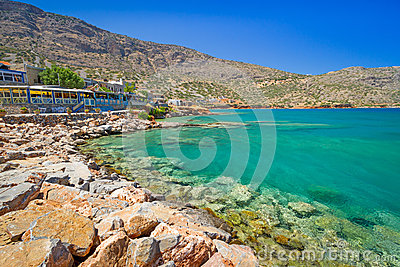 Turquise water of Mirabello bay in Plaka town on Crete