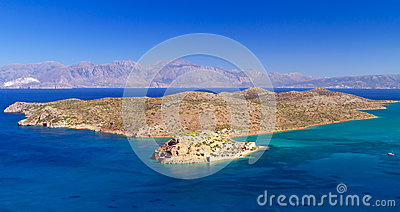 Turquise water of Mirabello bay with Spinalonga island