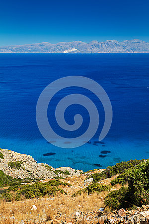 Turquise woda Mirabello zatoka na Crete