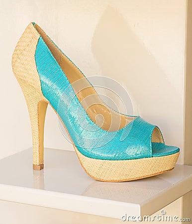Free Turquoise And Cream Ladies Shoe. Stock Photos - 19663723