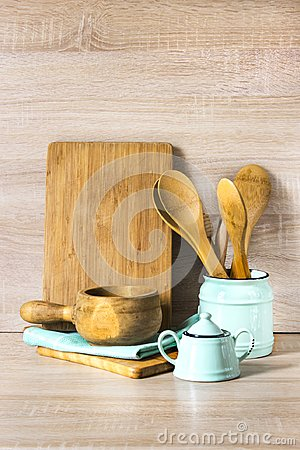 Free Turquoise And Wooden Vintage Crockery, Tableware, Dishware Utensils And Stuff On Wooden Table-top. Kitchen Still Life As Backgroun Royalty Free Stock Photography - 109317217