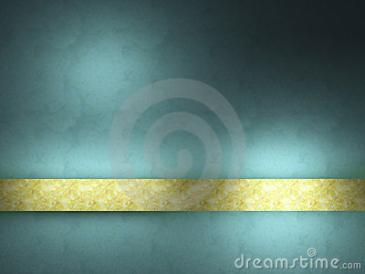 Turquoise background with gold ribbon.