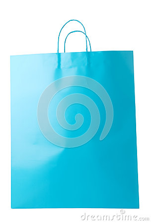 Turquoise Blue Shopping Bag Isolated