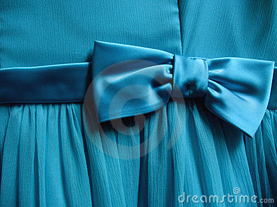 Turquoise Bow tied on Fabric - Horizontal