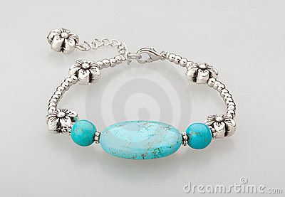 Turquoise bracelet isolated