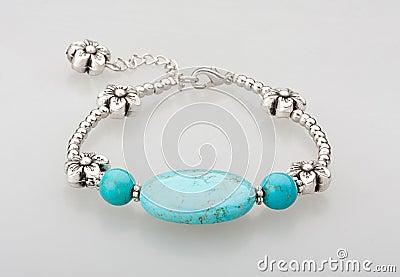 Turquoise bracelet isolated