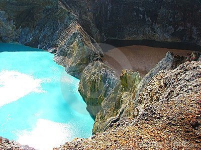 Turquoise and brown lake