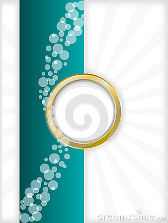 Turquoise bubbled brochure with golden ring