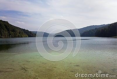 Turquoise colored lake at Lake Plitvice