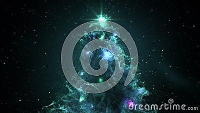 Turquoise Cyan Nebula Christmas Fir Tree background seamless loop 4k resolution. stock footage