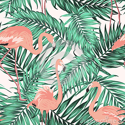 Free Turquoise Green Tropical Leaves Flamingo Pattern Stock Image - 84247531